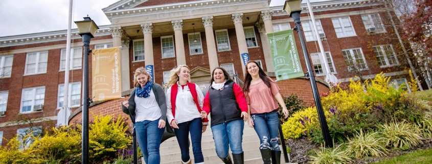 Image of students at Bluefield College walking together
