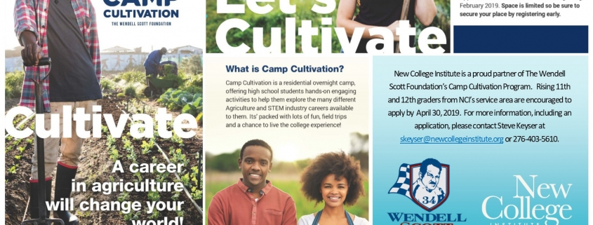 Graphic for Camp Cultivation from VSU, NCI, and the Wendell Scott Foundation