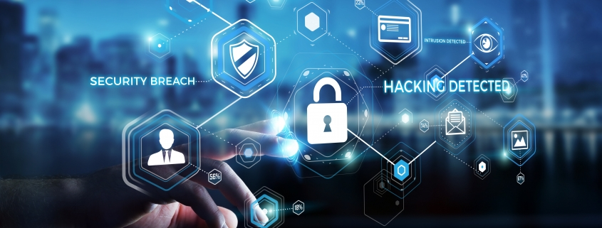 Cybersecurity graphic with blue technology background