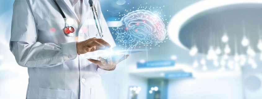 Graphic for telehealth of doctor using technology to study image of a human brain