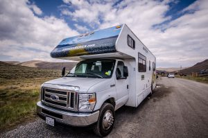 Camper traveling on a cross country trip